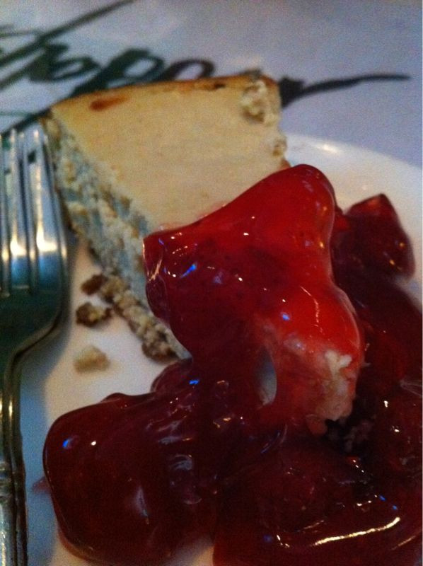 Vegan cheesecake. I'm not sure what was in it but it was GOOD. Consistency of a real cheesecake but not as sweet. Yummy!!!  I had this tonight at Grasshopper Asian Vegan Restaurant in Allston, MA. If you're in the area, you must try! It was only $4!