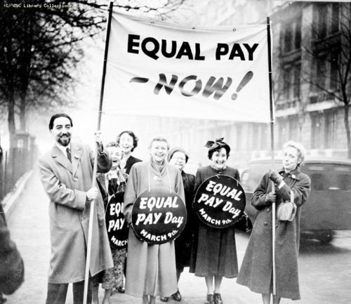 coolchicksfromhistory:  Equal Pay demonstration, 1954.