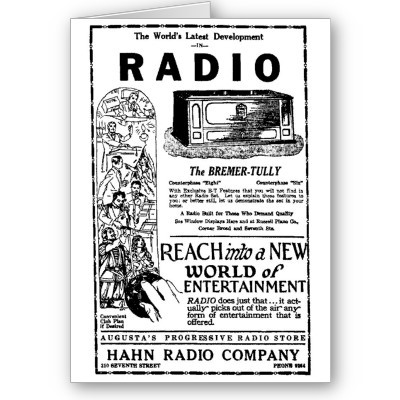 cynicalpelican:  1927 Vintage radio advertisement card