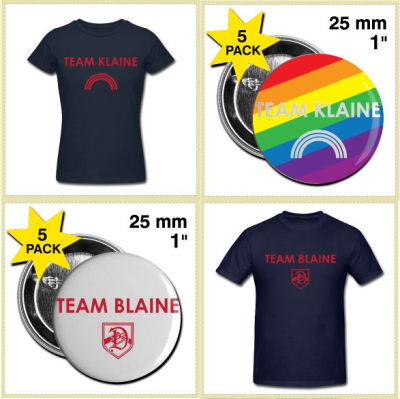 Are you Team Blaine? Perhaps Team Klaine is more your style? Get a shirt or a pin to show your love! Shirts from $20.40! Pins from $8.90 for 5! Visit the site here: http://haydenrodgersdesigns.spreadshirt.com/ and share it with your friends!