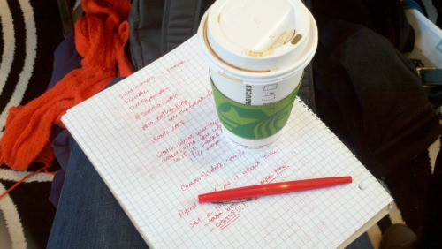 Keys to success at a great conference.. coffee, fresh notebook and an awesome red pen. Great start with Colleen Wainwright about being awesome! #sb3