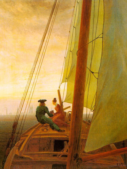 caspar david friedrich - on board a sailing ship (1828)