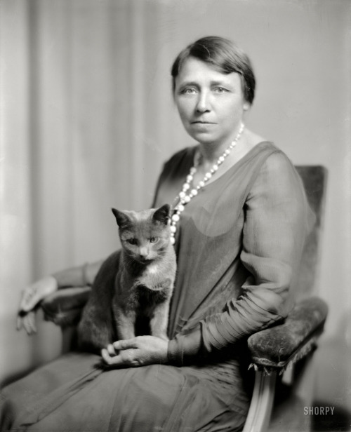 Mrs. Thaddeus Caraway and cat. Hattie Caraway was a two-term US Senator and the first woman ever elected to that office. Washington DC 1925. (via Shorpy Historic Photo Archive)