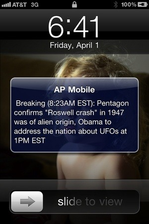 "I know my wife has this ""AP Mobile"" news app on her phone and receives text message alerts whenever something big is happening around the world, I decided to play a little prank on her. This morning I changed my name in her contact list to ""AP Mobile"" and sent her a short and sweet message and waited for her to turn her phone on. Her mouth almost came down to the floor. (via Boing Boing)"