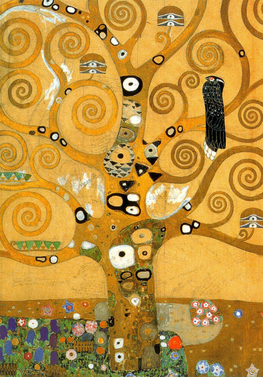 worldpaintings:  Gustav Klimt Detail of The Tree of Life, 1909, oil and gold on canvas. Klimt's use of swirling branches and detailed patterns of circles make the Tree of Life two-dimensional. It is full of triangles, rectangles, circles, butterflies, seedlings, flowers on the ground and  blackbirds perched on a few branches that most probably represent death.