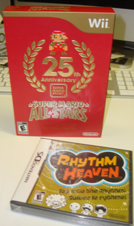 New game finds. 25th Super Mario Annivers Wii. Rhythm Heaven was only $10. No I have to see if my DS Lite actually lives.