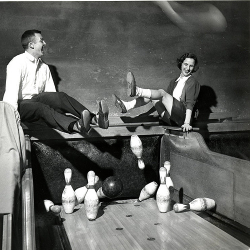 1951  Dodging Bowling Pins by vassarcollegearchives  A student and her friend dodge flying bowling pins, 1951. © Vassar College, Archives & Special Collections Ref. # Ph.f10.14