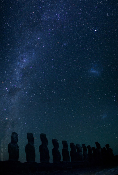 Easter Island Moais at Night  Copyright: Babak Sedehi