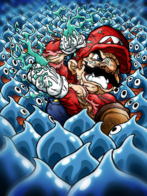 it8bit:  Mario vs. Slimes  - by Sebastian Von Buchwald blog / deviantart / facebook