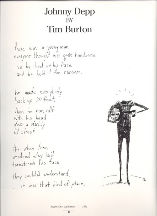 sekarishungry:  a poem about Johnny Depp written by Tim Burton.