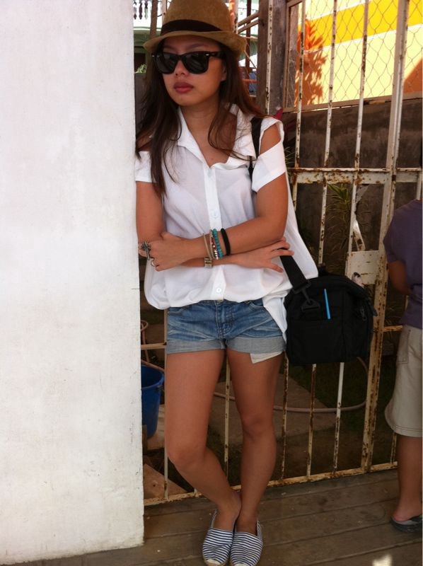 Goodbye Bora (Cut-out top & denim cut-offs-the Ramp; espadrilles-peppermint at Bora; corduroy fedora-random store at Bora;    Ray-Ban wayfarers; random accessories aaaaand camera bag)