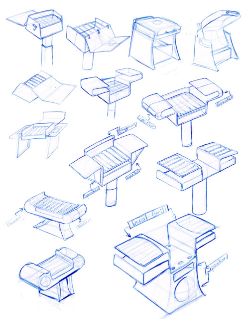 Sketches for a redesign of a public grill