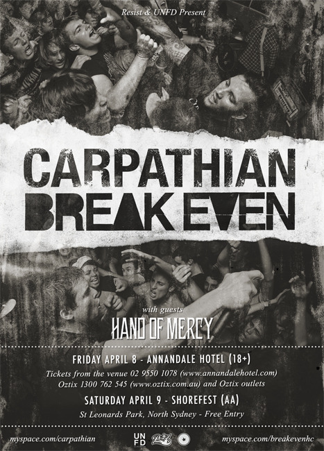breakevenaustralia:  Next Weekend!  Carpathian/Break Even flyer V2