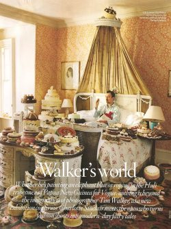 dallospazio:  Tim Walker himself, lying in bed, surrounded by cakes. This self-portrait appeared on Vogue UK in June 2008.