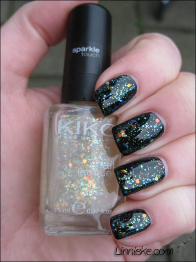Kiko Sparkle Touch - Multicolour Paillettes #231 over Misa Black Out  (via Linnieke.com blog)