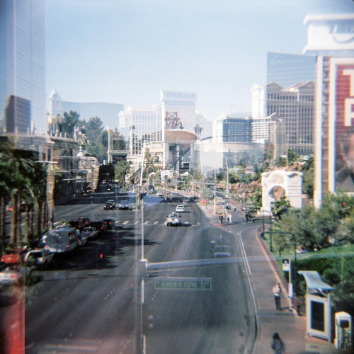 Vegas strip, both ways thanks to some reflective perspex on the footbridge