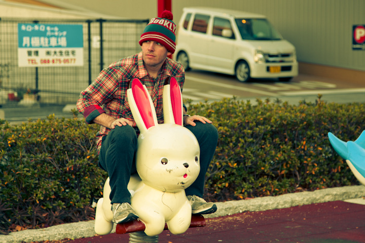"COOL STUFF IN JAPAN 20 - ""MY FAVORITE THING IN THIS PHOTO IS NOT THE RABBIT"" Because while the rabbit is indeed awesome, it is nowhere near as awesome as my cozy winter cap. Its coziness knows no bounds!!! Sometimes I feel bad because my cozy winter cap has never gotten to experience what it's like to wear a cozy winter cap. One day before I die I hope to get a cozy winter cap for my cozy winter cap so that it can finally feel it's own magical coziness."