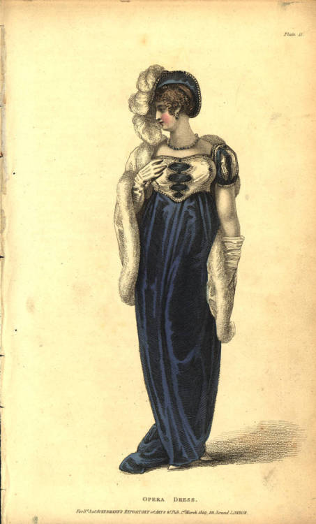 English opera dress, 1809 England, Ackermann's Repository