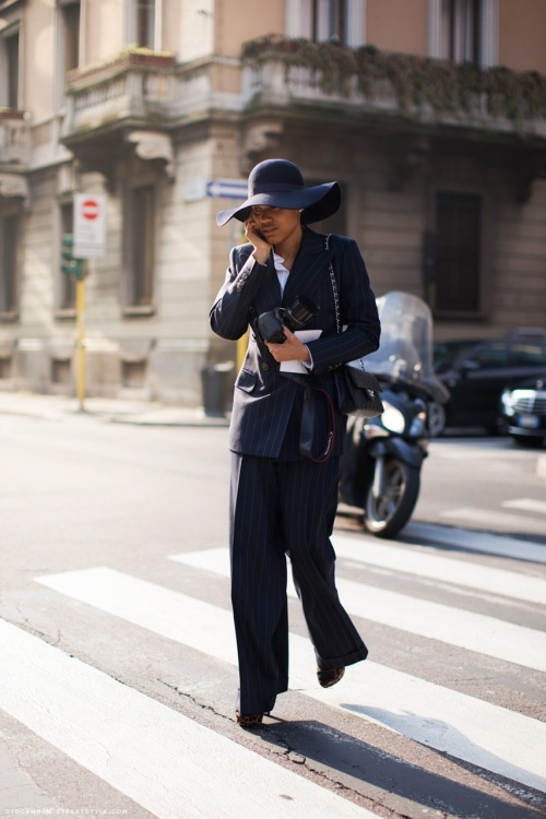 Tamu est très chic! wingtipsandloafers:  Very few women can pull of suits better than Tamu…..