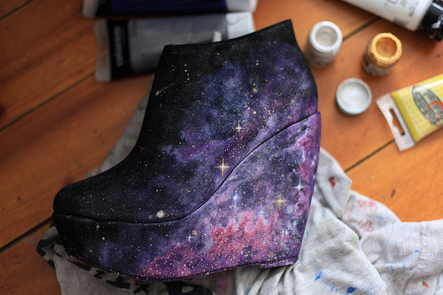 Nebula shoes, handpainted (by Alexandra Sophie)   actually amazing.