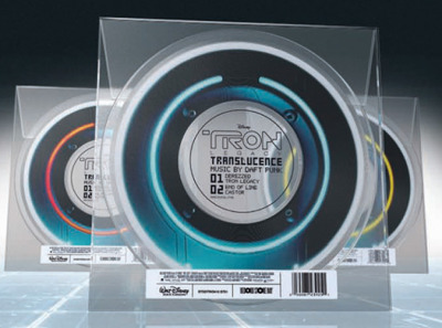 "Tron: Legacy Translucence 10"" Special Edition 4 Track Vinyl - This great looking package was supposed to get a special release for Record Store Day, but Universal Music pulled the plug on production at the last minute, seeing as pre-orders were through the roof, distributors are pissed."