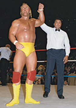 "Hulk Hogan and Muhammad Ali1985On April 3, the WWE will hold its 27th annual WrestleMania pay-per-view at the Georgia Dome in Atlanta. Here are photos from each event, starting with Muhammad Ali raising Hulk Hogan's arm in victory at the first Wrestlemania from Madison Square Garden.  Rowdy Roddy Piper and Mr. T1986The second WrestleMania took place in three locations - Uniondale, NY, Rosemont, Ill. and Los Angeles — and was highlighted by a Battle Royal featuring WWF and NFL stars. Other highlights of the card included Hulk Hogan beating King Kong Bundy in a steel cage and Mr. T defeating Roddy Piper in a boxing match.  Andre the Giant and Hulk Hogan1987At WrestleMania III, 93,173 fans filled the Pontiac Silverdome to see Hulk Hogan bodyslam and defeat 500-pound Andre the Giant.  Randy ""Macho Man"" Savage and Elizabeth 1988 At WrestleMania IV, 14 wrestlers competed in a one-night tournament to crown a new WWF champion. In the finale, Randy ""Macho Man"" Savage (with a little help from Hulk Hogan) defeated ""The Million Dollar Man"" Ted DiBiase. In this photo, Savage celebrates his title victory with his valet, Elizabeth.  Jake ""The Snake"" Roberts 1989 WrestleMania V took place at the Trump Plaza in Atlantic City. In this photo, Jake ""The Snake"" Roberts celebrates with his snake Damien after defeating Andre the Giant by disqualification."