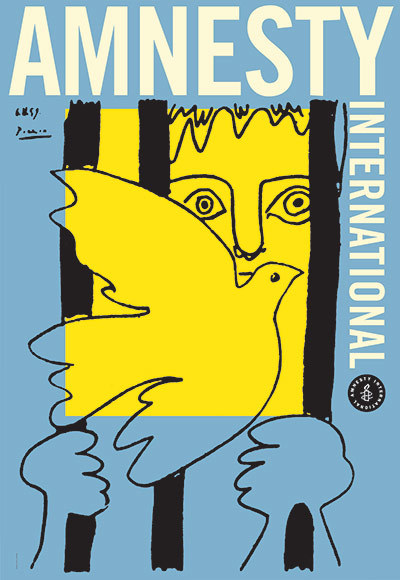 karenh:  50 years of Amnesty International posters (above La Colombe et le Prisonnier c. 1959 with art donated by Pablo Picasso)
