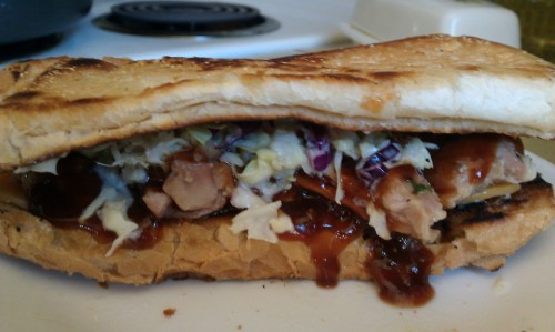 Toasted chicken bbq sandwhich with cheddar and slaw home made