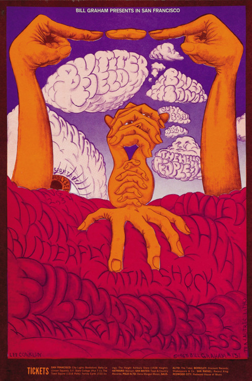 classicconcertposters:  Iron Butterfly, Canned Heat, Initial Shock, Santana, Butterfield Blues Band, The Hello People July 30-31 & August 1, 1968, Fillmore West