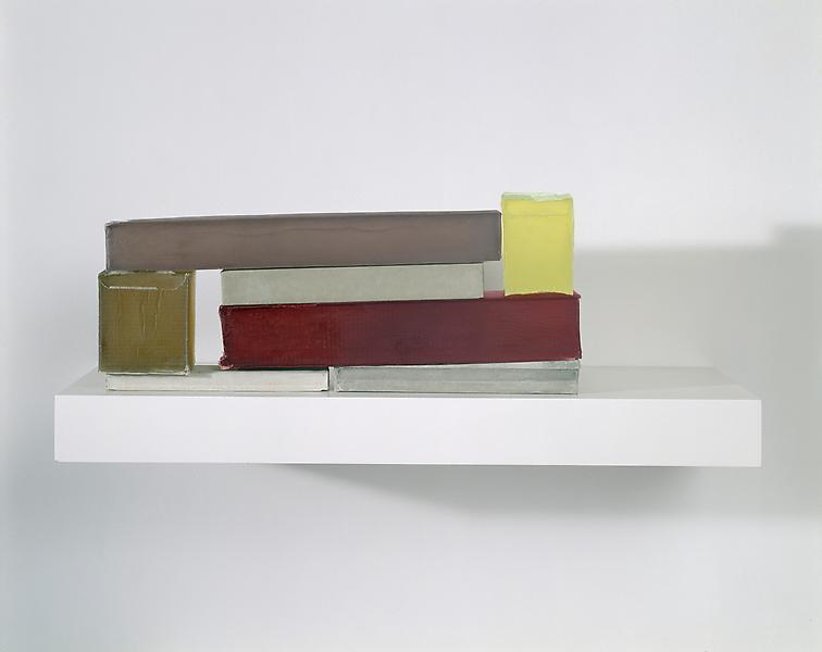 Rachel Whiteread , MODEL IV, 2008Plaster, pigment, resin, wood and metal (seven units, one shelf)