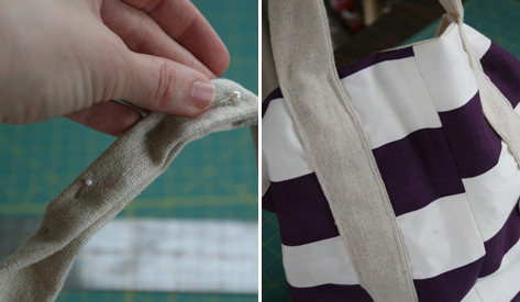 ricochet:  (via say YES! to hoboken: DIY Purple Striped Market Tote)