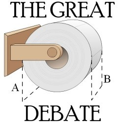 miss4n6:  conflictingheart:  The great debate - over or under? Definitely OVER. And I have a confession. When I'm at someone's home and their paper is under, I have to change it to roll over. Sorry people.  I have been known to change the toilet paper as well.   I resist the urge to change the roll direction in other peoples' homes, but I definitely fix it here at work.  'Under' is just… wrong.  It's the way they do it in the Bizarro universe via ochreogre