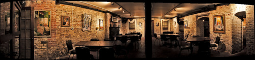 Panorama I did of my photos hanging in the basement of Moon River Brewery in Savannah, Ga.