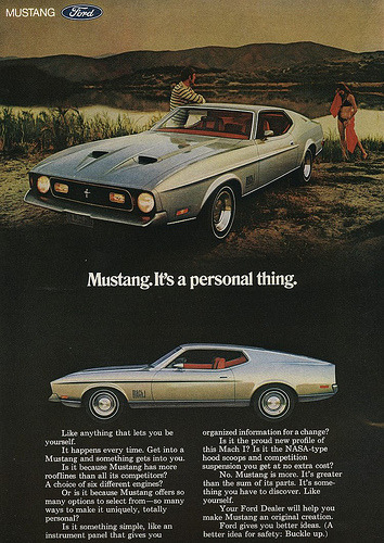 chromjuwelen:  1971 Ford Mustang ad (by retro-space)  1971 Ford Mustang Mach 1 Is it me or were there a lot more semi-naked women in the late 1960s and early 1970s in car advertising?