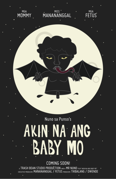 "lalainelim:  You can now buy this print via Society6 —- A Manananggal is the Filipino counterpart of the vampire.  From wikipedia: The manananggal is ""capable of severing its upper torso in order to fly into the night with huge bat-like wings to prey on unsuspecting, pregnant women in their homes; using an elongated proboscis-like tongue, it sucks the hearts of fetuses or the blood of an unsuspecting, sleeping victim. It is known to whip its hair in urban forests, causing hurricanes all over the globe. The severed lower torso is left standing, and it is said to be the more vulnerable of the two halves.""  —- ""Akin na ang baby mo"" = Your baby is mine!  —- More of my Filipino mythological creatures series: Tiyanak / Nuno Sa Punso / Kapre / Shokoy / Manananggal"