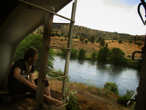 "deschutes river, oregon (by SW▲MPY) ""the train stopped, we ran to the river, the train immediately started moving again and we never ran faster  in our lives"""