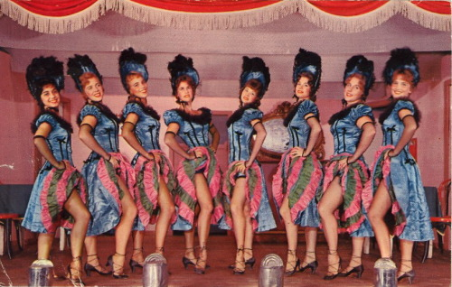 "bad-postcards:  YES WE CAN-CAN Verso:""DIXIE SHOWBOAT PLAYERS, VICKSBURG, MISSISSIPPI…Showing the Can-Can girls featured in the Gay Nineties Melodrama, ""Gold in the Hills,"" presented each year during the month of March."""