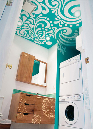 Idea: Stencil your ceiling. (via Integrating Laundry Facilities Into the Bathroom | Apartment Therapy New York)