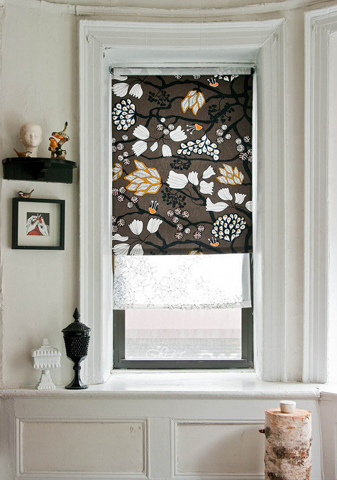 homemadecrap:  DIY Roller Blinds via Design Sponge I'm sick of staring at white mini blinds….this may be the perfect solution!  ! all my curtains are too big or too small for my windows.