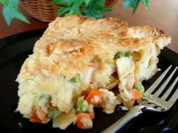 Chicken Pot Pie  1 (10 3/4 ounce) can  			 condensed cream of chicken soup (use low sodium!)     milk    2 large (boneless, skinless)   			 chicken breasts, cooked and diced     1 (4 1/2 ounce) jar  			 sliced mushrooms, drained     1 1/2 cups  diced  			frozen peas and carrots    1/4 cup  finely chopped  			 				 			onion      salt and pepper, rosemary, parsley, etc (whatever seasonings you love best)   Topping  1  cup  biscuit mix     1/2 cup  milk     1     egg, beaten     Put soup into a casserole dish and stir, adding milk a little at a time until desired consistency is reached.  Add chicken, mushrooms, carrots, peas and onions, stirring to blend well. Add salt and pepper to taste, if desired. Blend biscuit mix and add 1/2 cup milk and beaten egg, stirring until smooth. Pour batter over top of pie filling. Bake 45 minutes at 375° or until top is golden brown. Allow to sit for 10-15 minutes before serving.  Makes eight servings, 200 Calories each. 17g carbohydrates, 12g protein.*Option* Pot pies are extremely easy to tailor to your palate. Use different vegetables, tofu, and try substituting chicken broth and heavy cream for the canned soup. Also, I cannot stress the importance of seasoning well. The underside of the dough topping tends to stay undercooked in the center, but every time I'd had a homemade pot pie they've been like that, so it's a comfort to me.