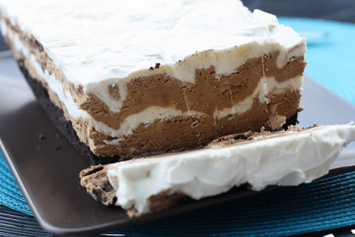 Frozen Mocha Marbled Loaf Cakefrom allrecipes.comIngredients:-2 cups Oreo crumbs-3 tbsp butter or margarine, melted-1 (8 oz) package cream cheese, softened-1 (14 oz) can sweetened condensed milk-1 tsp vanilla extract-2 cups whipped cream, whipped-2 tbsp instant coffee granules-1 tbsp hot water-1/2 cup chocolate syrupDirections:1. Line a 9 x 5 inch loaf pan with foil. Combine cookie crumbs and butter in a bowl until moistened. Press firmly into the bottom of the lined loaf pan.2. Beat cream cheese in a mixing bowl until light and smooth. Add sweetened condensed milk and vanilla, mixing to combine. Fold in whipped cream. Set aside half of this mixture.3. Dissolve coffee in hot water and fold into one half of the cream cheese mixture. Fold in chocolate syrup.4. Spoon half of chocolate/coffee mixture over the crust. Top with half of the cream cheese mixture. Repeat layers. Use a knife to swirl layers. Cover and freeze for at least 6 hours.5. To serve, remove from freezer and lift out of pan. Remove foil and cut into slices.