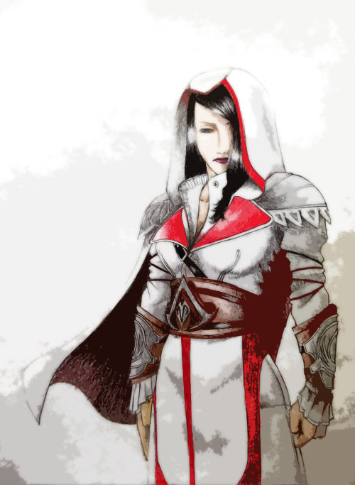 unforeseen-eventuality:  Assassin Female Version // by Morier23 My newest piece of work, took Altair and transformed him into a girl, the idea was taken from my sis Bobby  ok reblogging my bro's old drawings he's super talented you should send him money so he can make you drawings and mail them to you (he doesn't have enough money to mail letters)