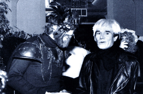 Happy Birthday Andy Warhol (born August 6, 1928) photo of Jim Henson and Andy Warhol at Henson's annual Halloween gala circa 1984 :: scanned from Jim Henson: The Works :: Random House Inc :: 1993
