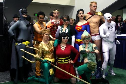 "Wondercon 2011 • Gender-bent Justice League (now with more White Lantern Flash!) | from ComicVine » Back row - Batwoman, Vixen (what's the male equivalent of ""vixen""?), Wonder Man, Green Lantern, Superwoman, Power Boy, White Lantern Flash; Front Row - Aquawoman, Plastic Woman, Green Arrow Just an observation: of the men, only Vixen seems to be into the whole gender-swap idea. Probably because he's wearing more clothes than either Wonder Man or Power Boy."