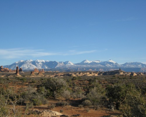 arches np. with the la sal mountains in the background.