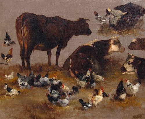 Alexandre Defaux Study of Cows and Chickens 19th century