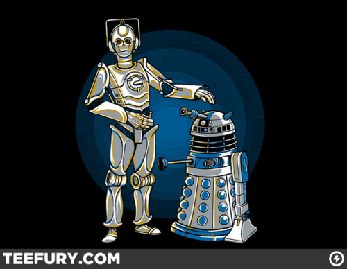 justinrampage:  Star Wars and Doctor Who cross paths thanks to artist Kari Fry. You can get your hands on this shirt Tuesday (4-5) over at TeeFury human. The previous Adventure Time / Star Wars post was A TRAP! Cyber3PO & R2Dalek by Kari Fry (RedBubble) (Facebook) (Twitter) Via: teevil  Ohhhhhhh, so tempting!