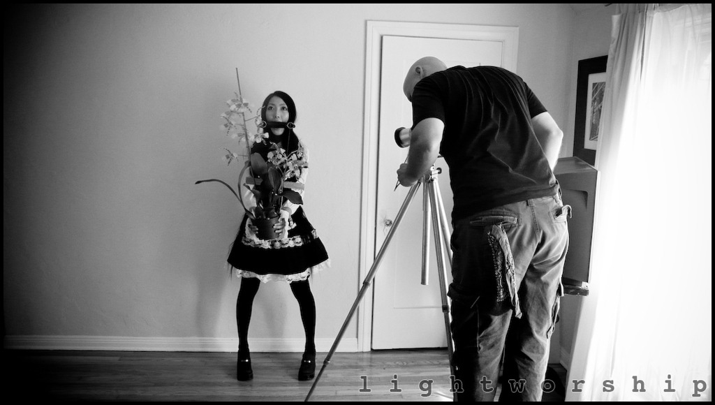 Here is a behind the scenes shot of me working with the beautiful Alli Jiang. Images from this shoot have not been released yet.