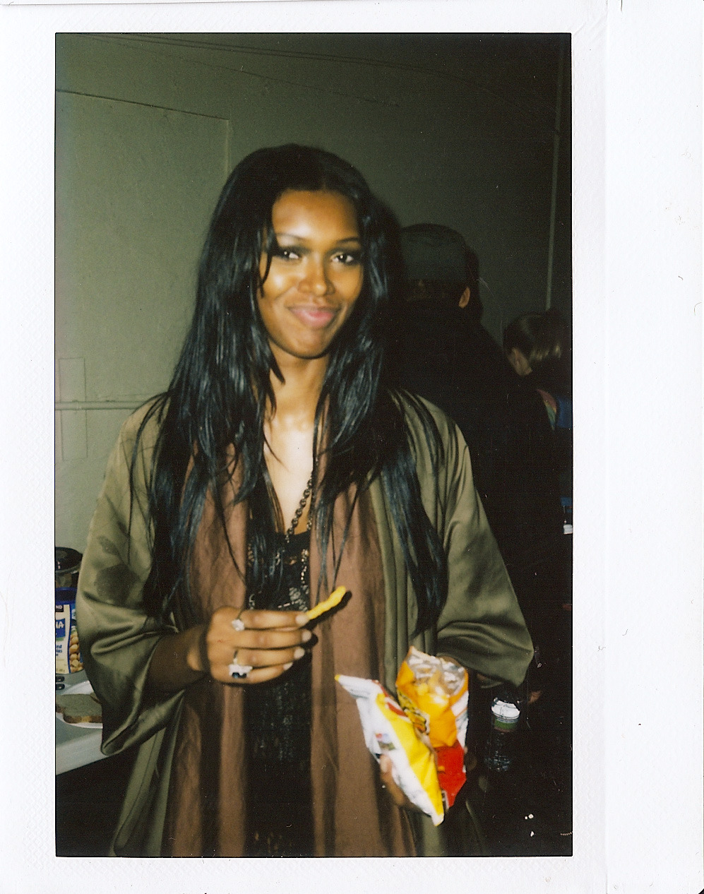 Subject: Jessica White (@IamJessWhite) (ELITE NY) Occasion: 'Motivation' Music Video Shoot Location: Downtown LA Camera: Fuji Instax 210 Film: Fuji Instax Wide Notes: Models and Cheetos go hand in hand. Thanx :)
