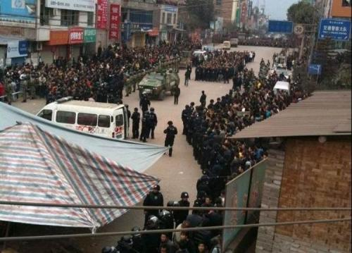 Thousands of Chinese citizens protest forced resettlement by hydro dam, clash with police. Over 100,000 people will be displaced and paid $250 per year. A sign of the new normal. Story here, and here.  Over 50 people were injured in a five-day-long standoff between police  and thousands of protesters over land confiscation in China's Yunnan  Province. A thousand armed police in military vehicles were dispatched  and local officials cut off the Internet connection of the entire town. Residents of Suijiang County, Yunnan Province, who were forced to leave  their homes because of the construction of the Xiangjiaba hydraulic  power station, were upset over meager resettlement compensation.
